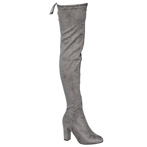 Drawstring DE01 Grey High Block Thigh Stretchy Women's Heel Boot The Beston Knee Over ZI7dqdO