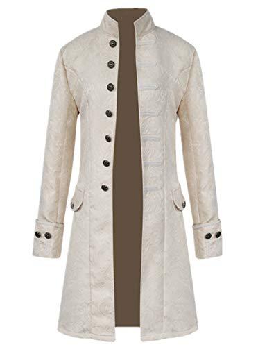 Tinyones Men's Steampunk Vintage Tailcoat Jacket Gothic Victorian Frock Coat Uniform Halloween Costume (XXXXL, White)