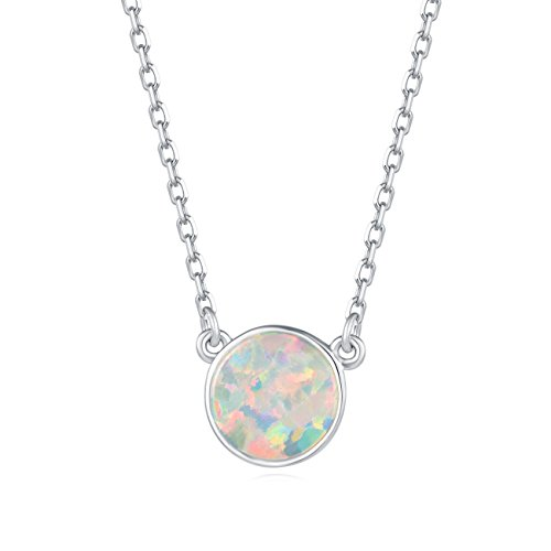 Carleen 18K White Gold Plated 925 Sterling Silver Round Created Opal Dainty Pendant Necklace for Women Girls with Silver Chain 16