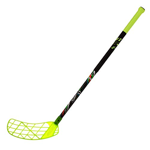 ACCUFLI Floorball Stick AirTek A80 Youth Left Stick Length 36inch Curved Blade (Yellow)