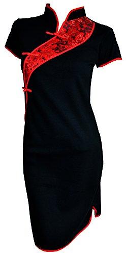 Black Chinese Girl - Amazing Grace Elephant Co. Chinese Tunic Dress Modern Style Qipao Cheongsam Dress (XXX-Large, China Black)