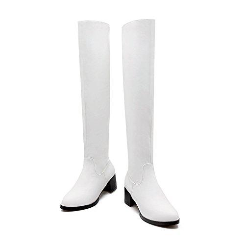 Mode Hälen Kvinna Chunky Häl Rund Tå Över Knäet Boot White