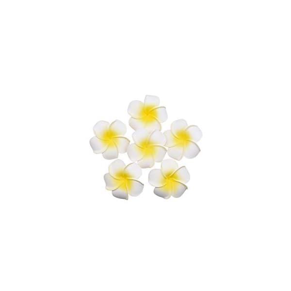 20Pcs Frangipani Flower Artificial Plumeria Foam Fake Egg Color Flower for Wedding Party Decoration Handcraft Supplies,Beige,M