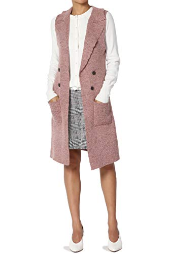 - TheMogan Junior's Double Breasted Ribbed Knit Sweater Long Vest Gilet Mauve S