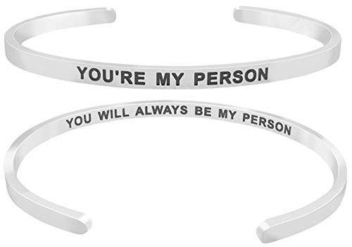 ''You're My Person You Will Always Be My Person'' Friends Quote Mantra Inspirational Friendship Love Cuff Bracelet, Jewelry Gifts for Best Friends, BFF Besties (Silver Tone) -