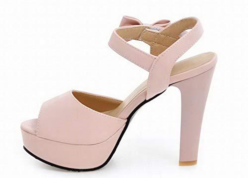 Talon Rose AgooLar Unie Velcro à Haut GMBLB015361 Couleur Femme Sandales 1CwqCS