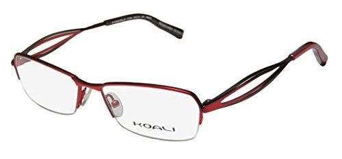 koali-7123k-womens-ladies-vision-care-genuine-designer-half-rim-eyeglasses-eyewear-52-16-135-red-bro