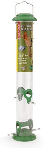 Window Tube Feeder (Stokes Select Wild Bird Feeder with Four Feeding Ports, Green, 19-Inch Tall, 1.1 lb Capacity)