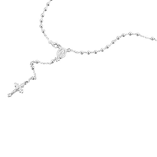 Sterling Silver Rosary Necklace 3mm Bead Jesus On The Cross Pendant Rosary Chain ( 16~30 Inches ) (Sterling Rosary Cross Silver)