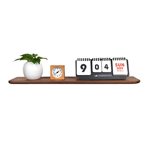 KINWELL Black Walnut Floating Shelf Strong Solid Wooden Wall Storage Rack Perfect Decor for Any Room(M)