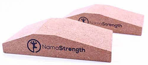 NamaStrength Yoga Cork Wrist Wedge - Yoga Wrist Support and Calf Raise Block (Set of 2)