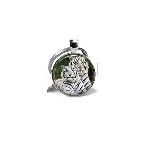 - White Tigers Pendant,Snow Tigers,Arctic Tigers,Big Cat, Endangered Animals, Gift Keychain