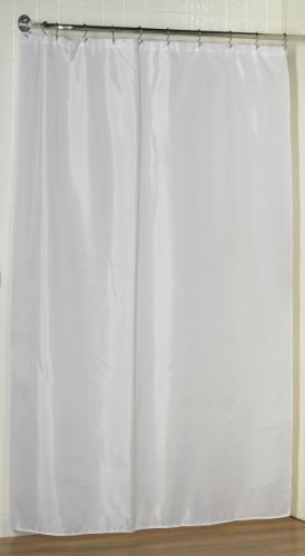 Carnation Home Fashions Fabric Extra Long Shower Curtain Liner,Extra Long Size, 70 inches x 84 inches, White by Carnation Home Fashions