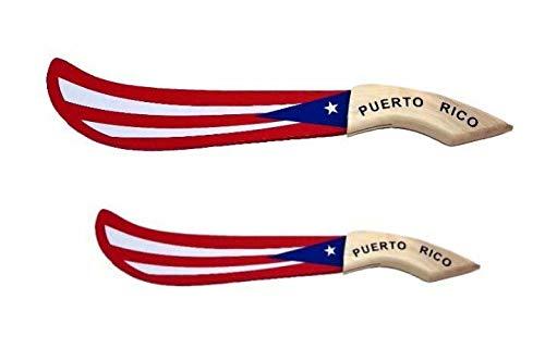 - Meditation Equipment Set of 2 Puerto Rico Flag Wood Machete Boricua Rican Souvenirs M & L