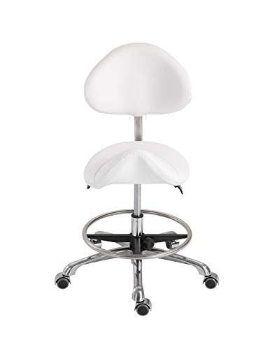 Saddle Stool,HomelyD PU Upholstery Adjustable Ergonomic Lab Stool Massage With Tilt Mechanism Backrest Medical Mobile Stool Chair White for Salon Spa Clinic Lab One Pack