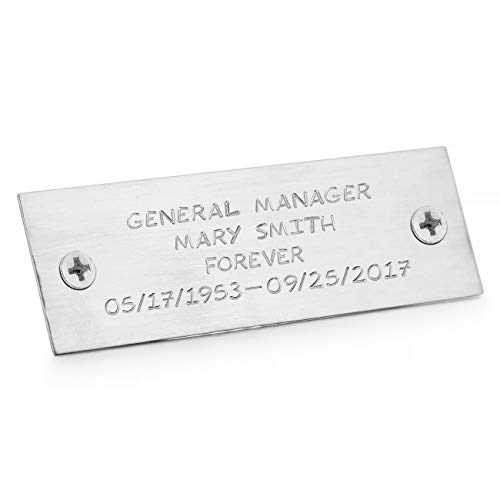 (MeMeDIY Silver Tone Size 25x76mm Aluminum Office Name Plate Wall Desk Holder Personalized Custom Hand Stamped)