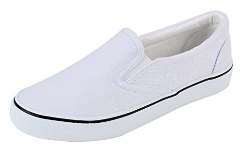 - UJoowalk Womens White Comfortable Casual Canvas Slip On Fashion Sneakers Loafers Walking Skate Shoes - Size 6