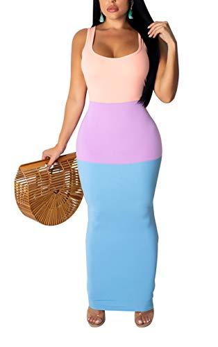 LKOUS Women's Summer Sexy Sleeveless U Neck Patchwork Bodycon Long Pencil Maxi Dress Sundress Party Plus Size Blue