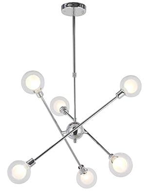 VINLUZ 8-Light Sputnik Chandelier Chrome Modern Pendant Lighting Dining Room Kitchen Light Fixtures