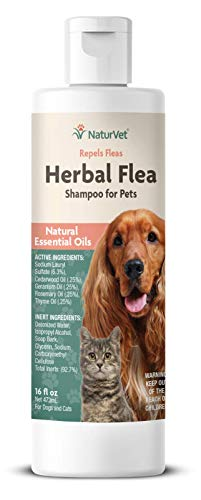 NaturVet - Herbal Flea Plus Essential Oils - Essential Oils Help to Repel Fleas - Deodorizes With a Fresh Herbal Fragrance - For Dogs & Cats - 16 oz Shampoo
