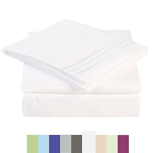 Bed Sheet Set - Microfiber Bedding Deep Pockets sheets 4 pc by Maevis (White,King) (Sheet Small Sage)