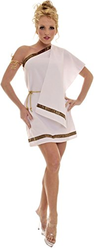 Athena Helmet Costume (OvedcRay Toga Female Woman Costume Greek Goddess Roman Athena Costume Dress Adult White)
