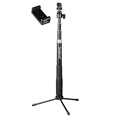 Smatree SmaPole Q3 Telescoping Selfie Stick with Tripod Stand for GoPro Hero 5/4/3+/3/2/1/Session Cameras, Ricoh Theta S, M15 Cameras, Compact Cameras and Cell Phones by Smatree