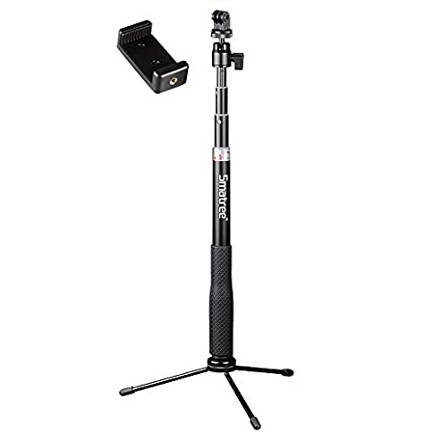 Smatree Q3 Telescoping Selfie Stick with Tripod Stand for GoPro Hero Fusion/7/6/5/4/3+/3/Session/GOPRO Hero (2018)/Action Cameras, Ricoh Theta S/V, M15 Cameras, Compact Cameras and Cell Phones - 31UVb7 2B1OZL - Smatree Q3 Telescoping Selfie Stick with Tripod Stand Compatible for GoPro Hero Fusion/7/6/5/4/3+/3/Session/GOPRO Hero (2018)/Action Cameras, Ricoh Theta S/V, SJCAM, AKASO, Xiaomi Yi and Cell Phones