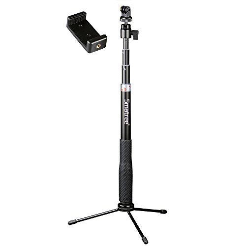 Smatree Q3 Telescoping Selfie Stick with Tripod Stand for GoPro Hero Fusion/6/5/4/3+/3/2/1/Session Cameras, Ricoh Theta S/V, M15 Cameras, Compact Cameras and Cell Phones