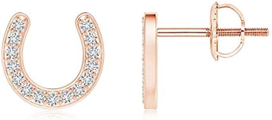 Pendientes de tuerca con diseño de herradura de diamantes (diamante de 1 mm)