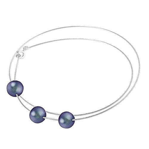Pearls & Colors - Collier torque - Or blanc 9 cts - Perle d'eau douce - 42 cm - PC-9CC4-3B-BL