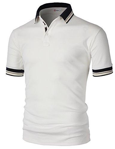 崇拝する前部落胆させる【H2H】 メンズ カジュアル ゴルフウェアー ファッション ベーシック 無地 スリームフィット ワンポイント 半袖 ポロシャツ