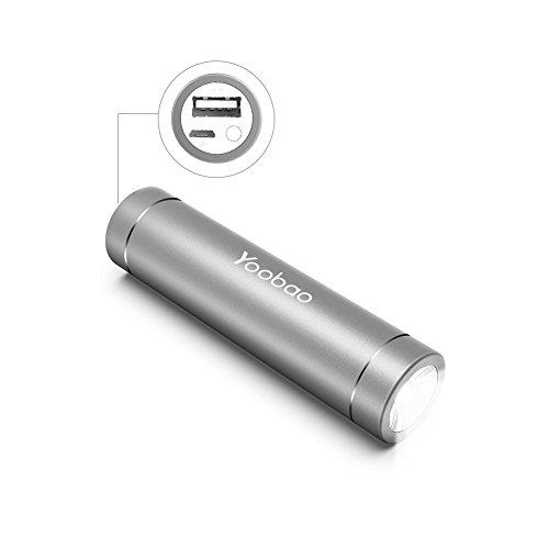 Yoobao Mini Handheld Flashlight Portable Charger 2500mAh Lipstick Size Power Bank Ultra Slim External Battery Pack for Hiking Camping Charging Phones-Gray