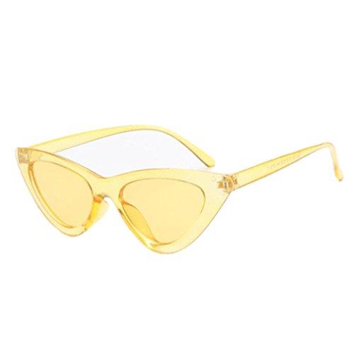 Eye Mignon Noir Soleil Vintage Sexy Femmes Lunettes de soleil Yellow Femme Rétro de Triangle Lunettes Cat Blanc tAntgwxr8q
