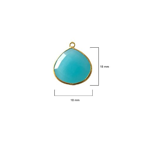 2 Pcs Blue Chalcedony Heart Beads 18mm 24K gold vermeil by BESTINBEADS, Blue Chalcedony Hydro Quartz Heart Pendant Bezel Gemstone Connectors over 925 sterling silver bezel jewelry making supplies