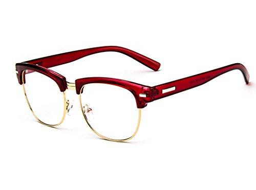 D.King Unisex Vintage Inspired Classic Half Frame Horn Rimmed Clear Lens - Glasses Red Half Frame