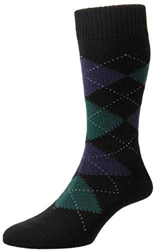 Pantherella Mens Racton Argyle Merino Wool Socks - New Black - Medium