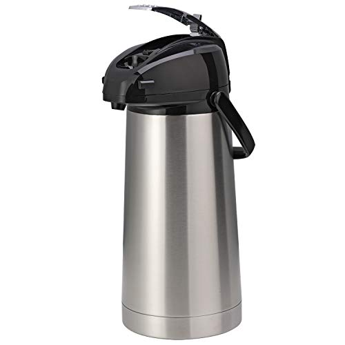 Service Ideas SAL30 Airpot with Lever, Stainless Steel Lined, 3.0 L, Brushed with Black Accents ()