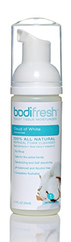 Bodifresh Cleansing Foam with Aloe and Vitamin E (Unscented) - Gently Removes what Dry Toilet Paper Leaves Behind- Flushable Wipes (Toilet Paper Foam)