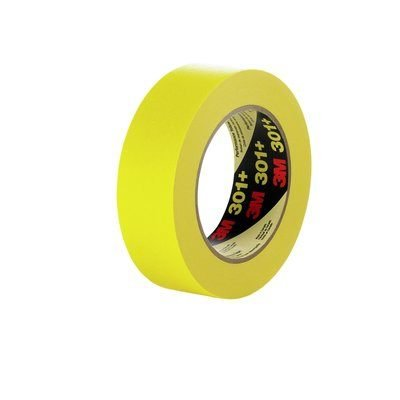 (24 Roll-Pack) 3M 301+ Yellow 18 MM x 55 M 225F Performance Masking Tape 6.3 Mil Equiv to 3/4 Inch by APD Incorporated
