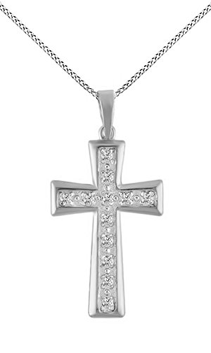 Natural Diamond Cross Pendant Necklace 14k White Gold Over Sterling Silver (1/10 Cttw) ()