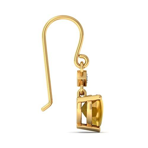 18K Or jaune 0,03CT TW White-diamond (IJ | SI) et citrine Buff Top Cœur Boucles d'oreilles pendantes