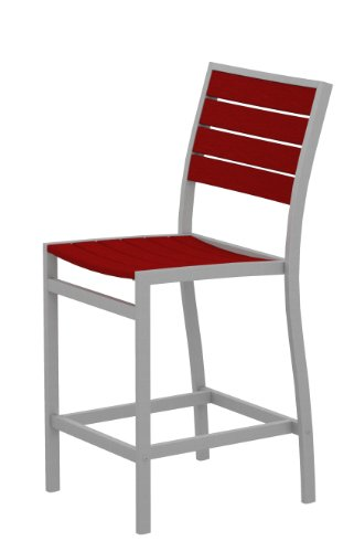 POLYWOOD A101FASSR Euro Counter Side Chair, Textured Silver/Sunset Red Review