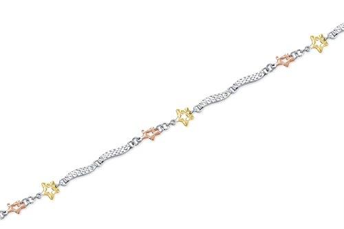 """Couleur Blanc Or jaune 14 carats et Rose Etoile Wave Segment Bracelet (6,5 """")"""