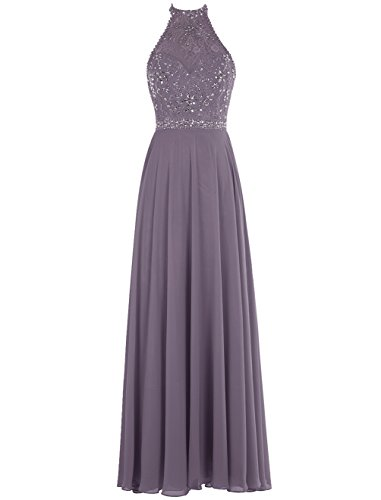 Bbonlinedress Long Prom Dresses Chiffon Beaded Jewel Evening Gowns Grey 12