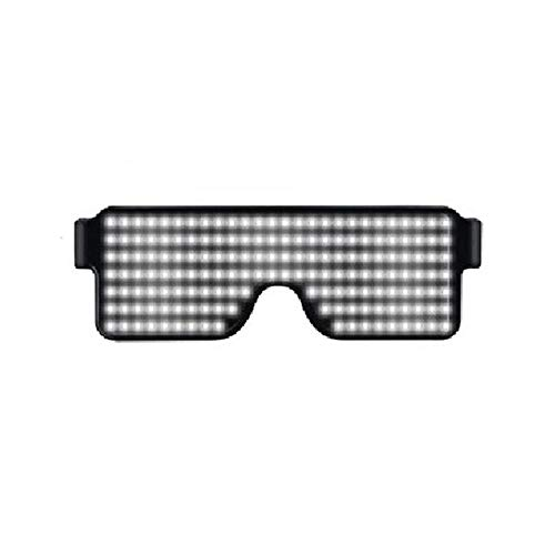 KOBWA Light Up Eyeglasses Flashing Shutter Neon Glowing Glasses Multicolor LED Luminous Glasses with 8 Modes for Party Christmas Birthday]()