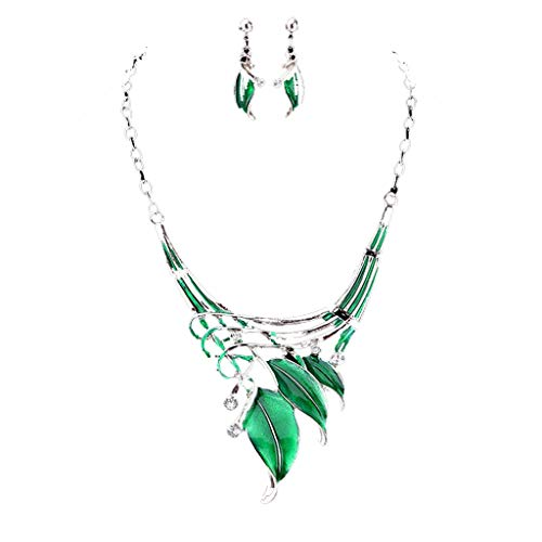 Sinfu Women's Fashion 3 Classic Leaf Modeling Coloured Diamond Hollow Swing Net Ring Buckle Chain Necklace Earrings Jewelry Set (Green)