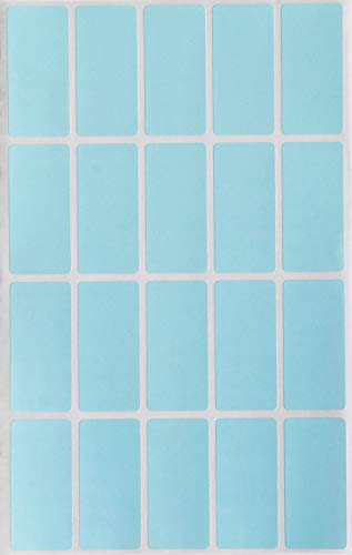 Light Blue Rectangular Colored Labels 1.57 inch x 0.75 inch - Rectangle Color Code Stickers (40mm x 19mm) - 100 Pack by Royal ()