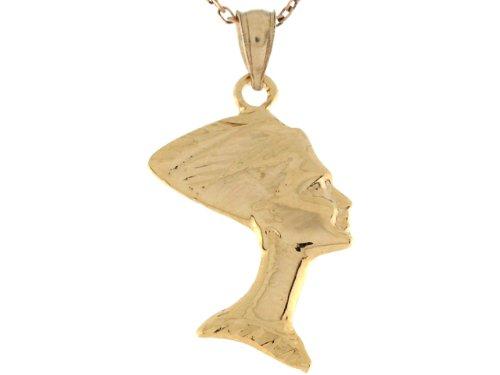 14ct Or Jaune Petit Pendentif Déesse Egyptienne Néfertiti 2.9cm X 1.4cm