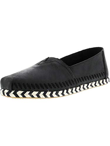 Toms Women's Classic Leather Rope Sole Black Ankle-High Slip-On Shoes - 8